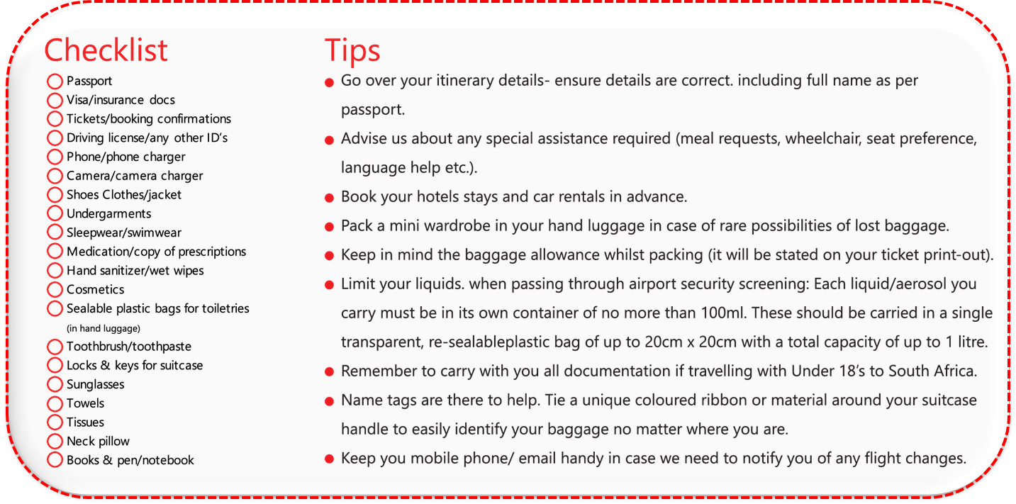 YOUR TRAVEL CHECK LIST HANDY TIPS